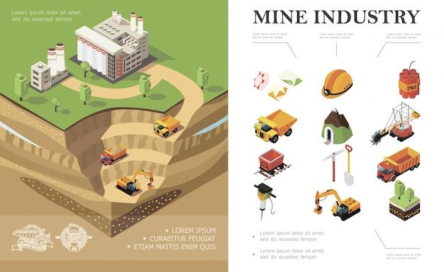 Composizione di industria mineraria isometrica con veicoli industriali di fabbrica scavo cava miniera pietre preziose pala dinamite piccone alberi martello trapano casco casco