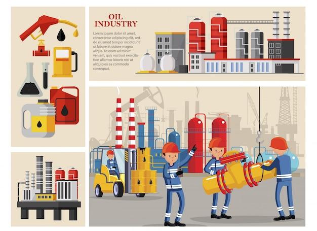 Composizione di industria petrolifera piana con i lavoratori industriali che trasportano le scatole metalliche delle boccette della pompa della stazione della benzina della centrale petrolchimica della conduttura