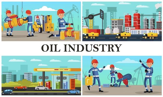 Composizione di industria petrolifera piatta con lavoratori industriali che svolgono diverse azioni su camion di carburante impianto petrolchimico e stazione di servizio in città