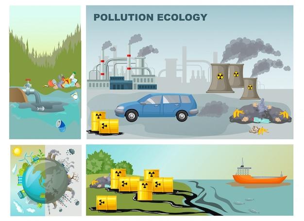 Composizione di inquinamento dell'ambiente piatto con pianeta pulito e sporco di contaminazione delle acque reflue industriali di fabbrica