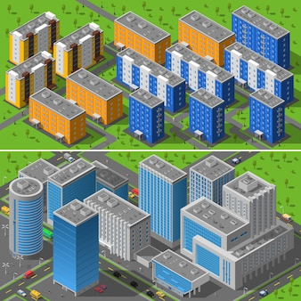 Composizione di isometrica di edifici di città 2 bandiere