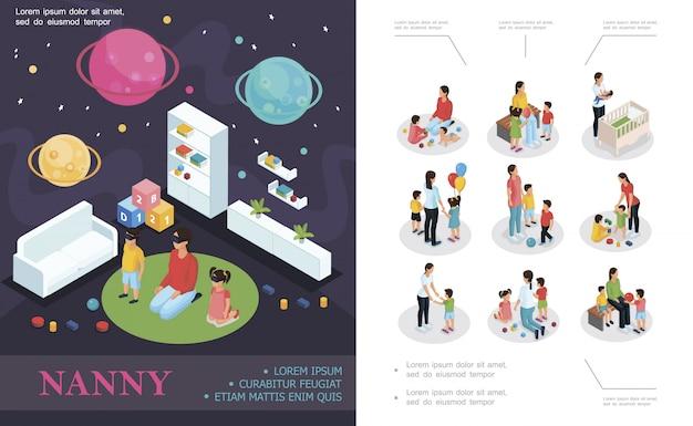 Composizione di lavoro tata isometrica con babysitter che gioca con i bambini nella tata della stanza dei bambini e bambini in diverse situazioni