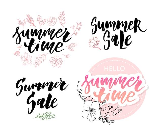 Composizione di lettering tempo di vendita di estate
