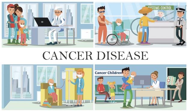 Composizione di malattia del cancro infantile con persone che visitano i medici con i loro figli per il trattamento medico di oncologia padre con figlio in sedia a rotelle in aeroporto