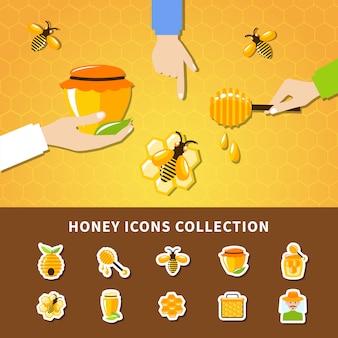 Composizione di mani e miele
