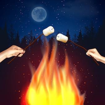 Composizione di marshmallow di fuoco da campo