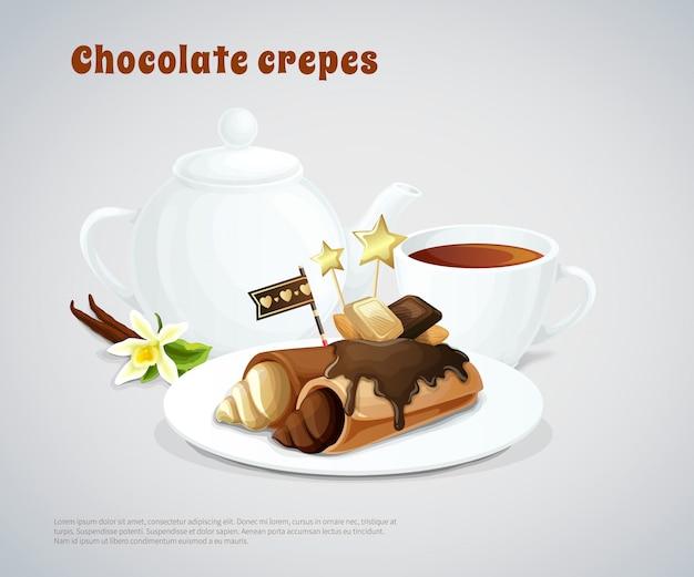 Composizione di pancake al cioccolato