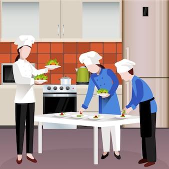 Composizione di persone in cucina colorata piatta
