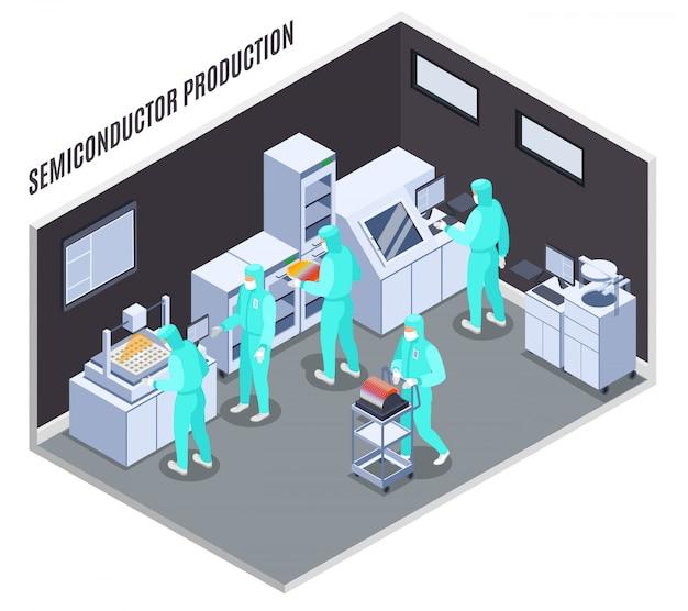 Composizione di produzione di semiconduttori con tecnologia e simboli di laboratorio isometrici