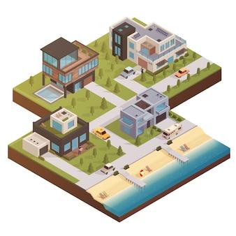 Composizione di proprietà edilizia isometrica