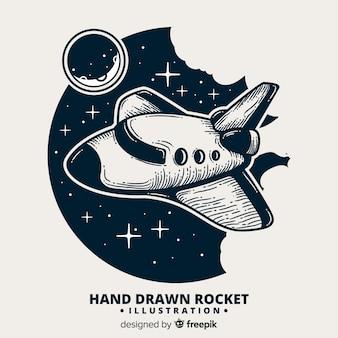Composizione di razzo spaziale disegnato a mano bella