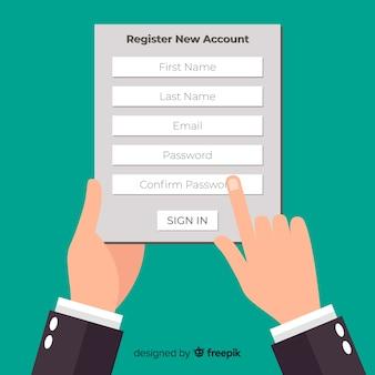 Composizione di registrazione online moderna