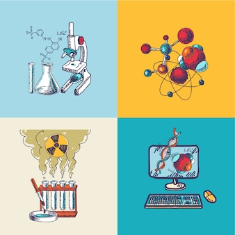 Composizione di schizzo icona chimica