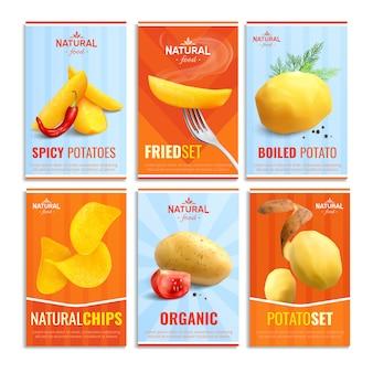 Composizione di sei carte con immagini di patate lesse fritte speziate e patatine naturali
