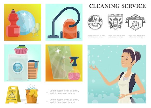Composizione di servizio di pulizia del fumetto con cameriera e diversi strumenti e oggetti domestici