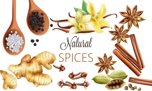 Composizione di spezie naturali con sale, pepe nero, zenzero, bastoncini di cannella e vaniglia