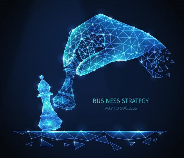 Composizione di strategia aziendale poligonale wireframe con immagini scintillanti della mano umana con pezzi degli scacchi con testo