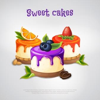 Composizione di torte dolci