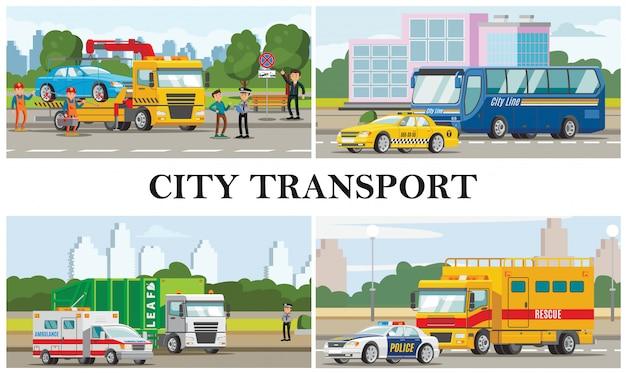 Composizione di trasporto città piatta con auto della polizia ambulanza taxi autobus immondizia fuoco e camion di rimorchio