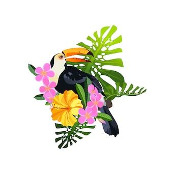 Composizione di uccelli tropicali
