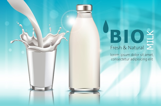 Composizione di una bottiglia e una tazza di latte