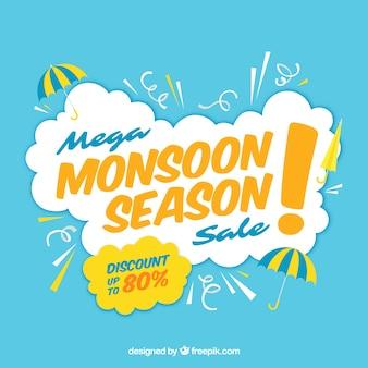 Composizione di vendita dei monsoni con design piatto