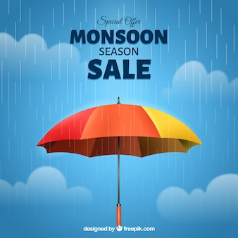 Composizione di vendita dei monsoni con ombrello realistico