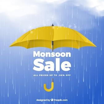 Composizione di vendita dei monsoni con un design realistico