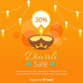 Composizione di vendita di diwali colorato con design piatto
