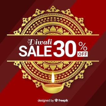 Composizione di vendita di diwali colorato con design realistico
