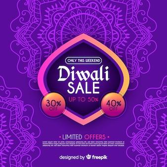 Composizione di vendita di diwali disegnato a mano variopinto