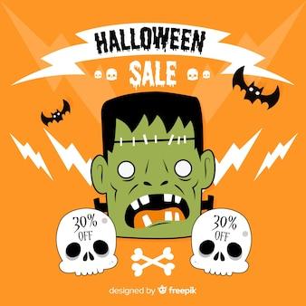 Composizione di vendita di halloween con design piatto