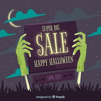 Composizione di vendita di halloween disegnato a mano