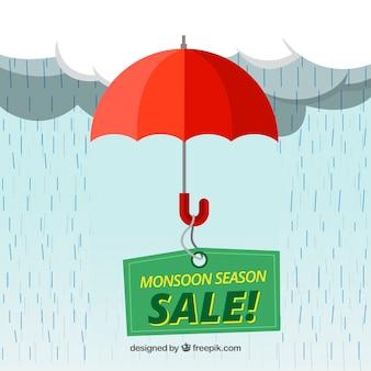 Composizione di vendita di monsone incantevole con design piatto