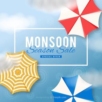 Composizione di vendita di monsone incantevole con un design realistico