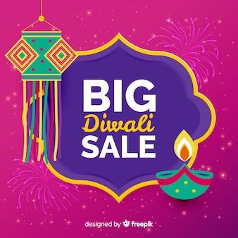 Composizione di vendita moderna diwali con design piatto