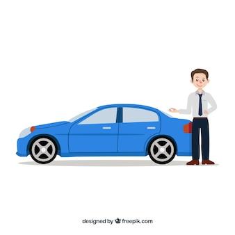 Composizione di venditore di auto con design piatto
