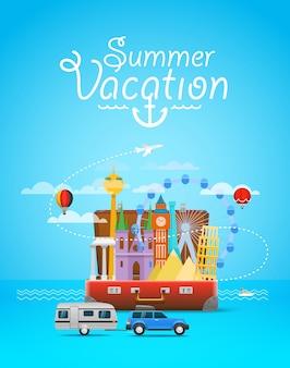 Composizione di viaggio vacanza con la borsa aperta