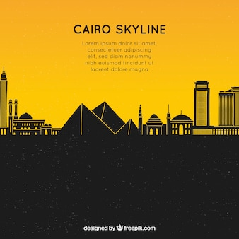 Composizione disegnata a mano con skyline di cairo