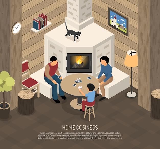 Composizione domestica nell'accoglienza con la famiglia durante le carte da gioco vicino al posto del fuoco isometrico