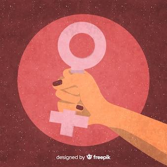 Composizione femminista con pugno grunge