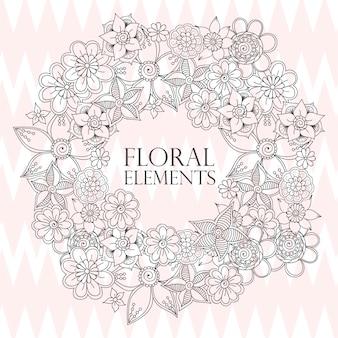 Composizione floreale con fiore zentangle.