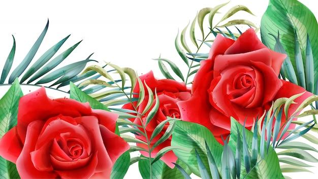 Composizione floreale con rose rosse, boccioli di rosa e foglie