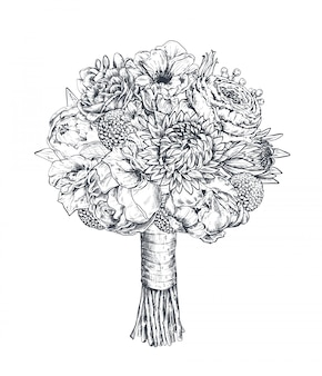 Composizione floreale. mazzo bradale con bellissimi fiori disegnati a mano, piante, nastro. illustrazione monocromatica in stile schizzo
