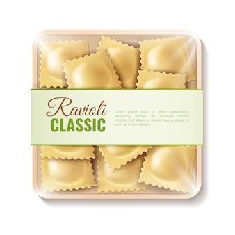 Composizione gastronomica in imballaggio per alimenti della carne realistica con l'immagine isolata della scatola di prodotti bollata con l'illustrazione classica di vettore dei ravioli