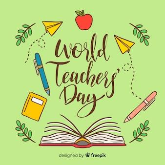 Composizione giorno insegnanti adorabili del mondo con stile disegnato a mano