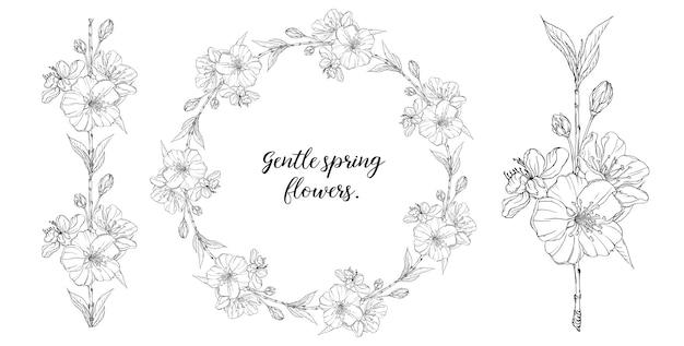 Composizione grafica floreale con fiori primaverili