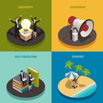 Composizione imprenditoriale impostata con creatività leadership autodidatta e comfort