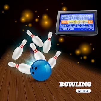 Composizione in colpo di bowling 3d con colpire palla blu sui perni e risultati sul bordo di punteggio