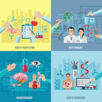 Composizione in concetto delle icone di biotecnologia della nanotecnologia di ingegneria genetica e dell'illustrazione piana di vettore degli elementi quadrati di modifica genetica